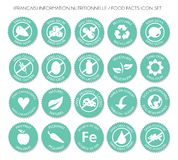 French Nutrition label icon set vector stock illustration