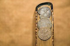 French old coins is on the book Royalty Free Stock Photography
