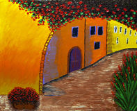 French old town street. Original oil painting of a medieval street of the old French town, Provence royalty free illustration