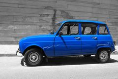 French oldtimer Renault 4 in blue. Royalty Free Stock Images