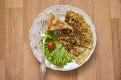 French omelet with saburani on wooden background Stock Photos