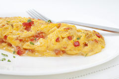 French Omelette with Red Peppers Royalty Free Stock Photo