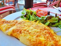 French Omlette. On a street Parisian terrace Royalty Free Stock Images