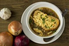 French onion gratin soup. With spoon Stock Photography