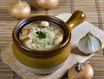 French onion soup. With  cheese and bread Stock Image
