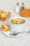 French onion soup with cheese bread Royalty Free Stock Images