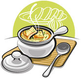 French onion soup with croutons Royalty Free Stock Photos