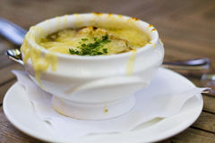 French Onion Soup Gratinée. Delicious French Onion Soup Gratinée Royalty Free Stock Photography