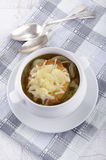 French onion soup in a white bowl Stock Photography