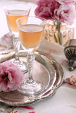 French orange wine. French orange liqueur vin d'orange  served in small footed glasses Royalty Free Stock Photo