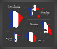 French overseas departments map with French national flag illust. Ration in artwork style Royalty Free Stock Images