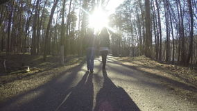 French pair couple walk in park holding hand in hand. 4K stock video footage