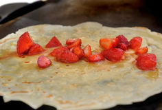 French pancake with strawberries Royalty Free Stock Image