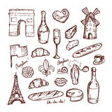 French paris set of sketch elements Stock Photography