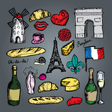 French paris set of sketch elements Royalty Free Stock Images