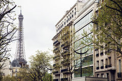 French paris street with Eiffel Tower in perspective trought trees Stock Photo