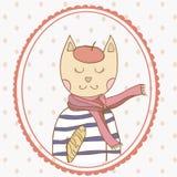 French parisian cat hand drawn illustration polka. French parisian cat hand drawn vector illustration polka dot backdrop Royalty Free Stock Image