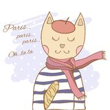 French parisian cat hand drawn illustration Stock Images