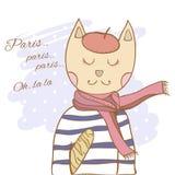 French parisian cat hand drawn illustration. French parisian cat hand drawn vector illustration Stock Images