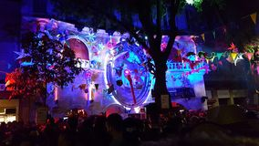 French party. Night music light stock photography