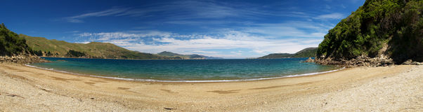 French pass. Beach near French pass, Marlborough Sounds, New Zealand Stock Photos