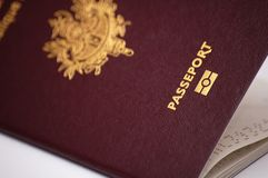 French passport. Close-up of a french biometric passport Royalty Free Stock Photo