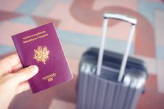 Passeport and luggage before departure . travel document royalty free stock photos