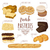 French pastries collection. Brioche, macaroons, croissants, baguette, eclairs, paris brest, ganache, napoleon cakes. Elements. Hand drawn vector illustration Royalty Free Stock Photography