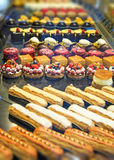 French pastries. Colorful pastiries at food display, Paris, France Royalty Free Stock Images