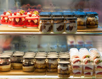 French pastries on display a confectionery shop Stock Image