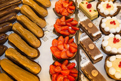 French pastries on display a confectionery shop or bakery Stock Photography