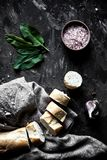 French pastry, baguette on a black background with details for cooking royalty free stock images