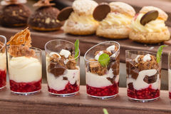 French pastry. Desserts in glass Stock Image