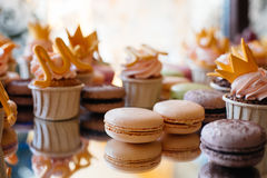 French pastry makaron. Selective focus. Royalty Free Stock Images