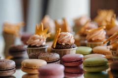 French pastry makaron. Selective focus. Royalty Free Stock Photos
