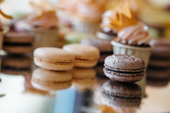 French pastry makaron. Selective focus. Royalty Free Stock Photography