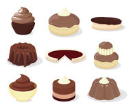 French patisserie. Set of  icons of french desserts Royalty Free Stock Images