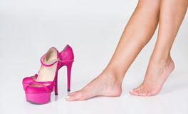 French pedicure and high heels Stock Photos