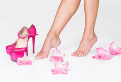 French Pedicure, Pink Flowers And High Heels Stock Images