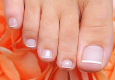 French pedicure on a well-groomed toys Stock Photography