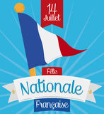 French Pennant to Celebrate National Day in July 14, Vector Illustration Stock Image