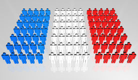French People 3D Flag. Group of abstract people forming a frontal view of French flag Stock Photos