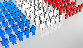 French People Flag 3D. Group of abstract people forming the French flag Stock Photography