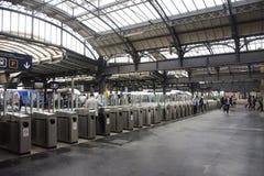 French people and foreigner travlers walk and wait train at Gare de Paris-Est or Paris Gare de l`est railway station Stock Images