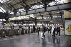French people and foreigner travlers walk and wait train at Gare de Paris-Est or Paris Gare de l`est railway station Stock Photography