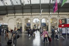 French people and foreigner travlers walking in out and wait train at Gare de Paris-Est Royalty Free Stock Image