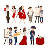French people, mimes, artists, historical figures. French characters, mimes, artists, Napoleon and Jane of Arc with cheese, baguette, wine as symbols of France Royalty Free Stock Images