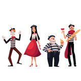 French people, mimes holding cheese, baguette, wine, symbols of France. Set of French male and female characters, mimes holding cheese, baguette, wine as symbols Stock Image