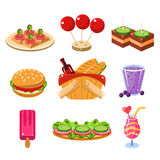 French Picnic Food Icons Set. Set of colourful icons of traditional french picnic food, snacks and drinks vector illustration collection Stock Photo