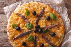 Free French Pizza Pissaladiere Close-up On The Table. Horizontal Top Stock Photo - 64931100